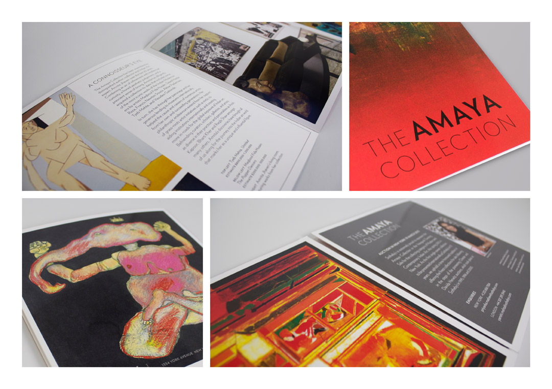An 8 page gate fold brochure highlighting top works in this private contemporary art collection, with a geometric and semi-symmetrical title treatment, placed on strong colours.